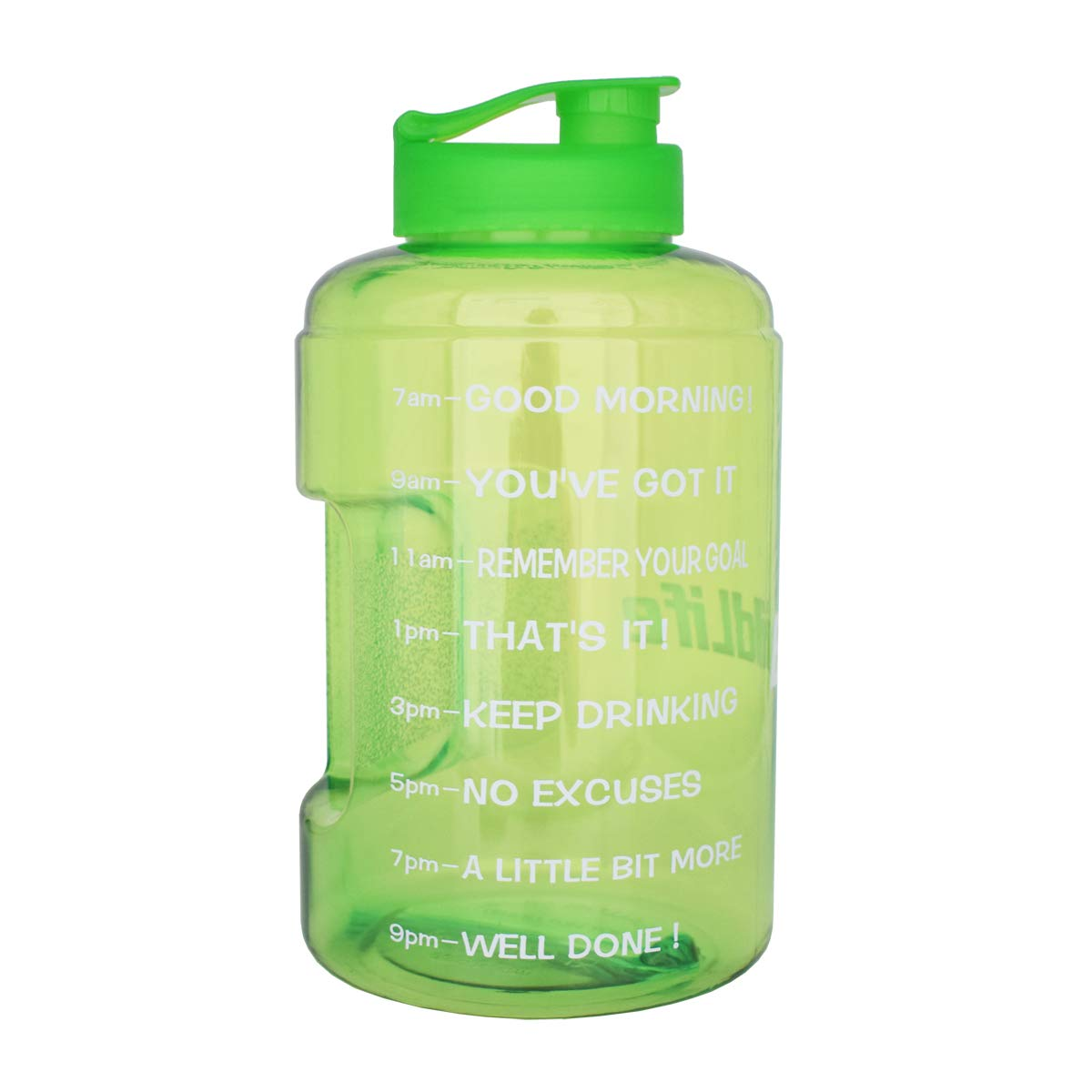 BuildLife 1 Gallon(128OZ) Sports Water Bottle Inspirational Fitness Workout Wide Mouth with Time Marker for Measuring Your H2O Intake BPA Free (1 Gallon, Green+Green lid)