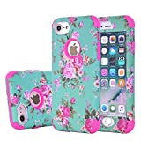 iPhone 8 Floral Case / iPhone 7 Cover, Harsel Vintage Peony Floral Flowers Design Hybrid Armor Silicone TPU Plastic Shockproof Bumper High Impact Durable Case Shell for iPhone 7 / 8 (Rose)