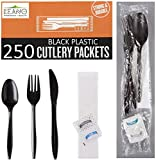 250 Plastic Cutlery Packets - Knife Fork Spoon