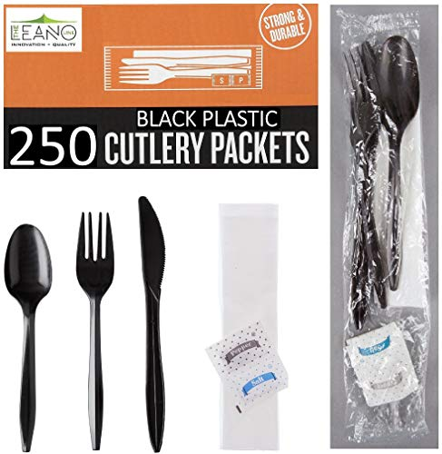 250 Plastic Cutlery Packets - Knife Fork Spoon Napkin Salt Pepper Sets | Black Plastic Silverware Sets Individually Wrapped Cutlery Kits, Bulk Plastic Utensil Cutlery Set Disposable To Go Silverware (Napkin Up Set)