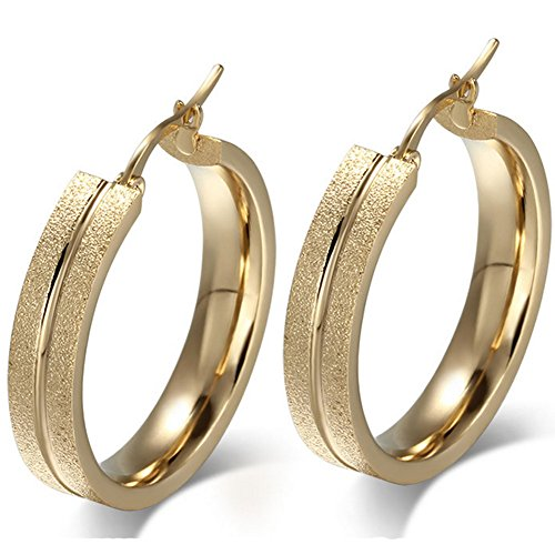 Cheo Rish 18K Gold Tone Dull Polish Earrings for Womens,Gold Plated