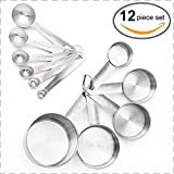 : Brand New, Set of 12 Measuring Cups and Measuring Spoons in 18/8 Stainless Steel in American & Metric Measurements from Maison Maison. For Cooking, Baking, Liquid and Dry Ingredients!
