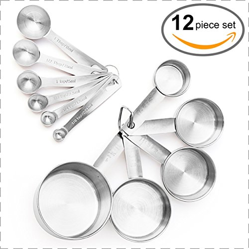 - Brand New, Set of 12 Measuring Cups and Measuring Spoons in 18/8 Stainless Steel in American & Metric Measurements from Maison Maison. For Cooking, Baking, Liquid and Dry Ingredients!