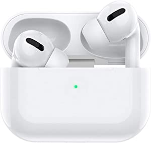 Wireless Headphones Bluetooth Earbuds with Charging Case Noise Cancelling 3D Stereo Headphones Built in Mic in Ear Ear Buds Pop-ups Headphones for iPhone/Andriod/Apple AirPods Pro (White)