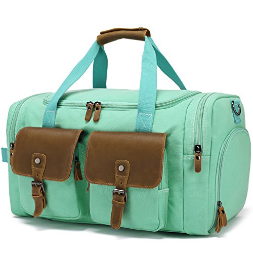 BLUBOON Weekender Duffle Bag Canvas Overnight Travel Duffel with Shoe Compartment for Women Leather Carry on Luggage Travel Tote Bag (Mint Green) by BLUBOON (Image #6)