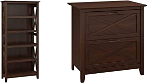 Bush Furniture Key West 5 Shelf Bookcase in Bing Cherry & Key West 2 Drawer Lateral File Cabinet in Bing Cherry