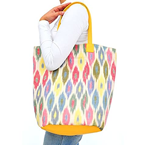 AT IKAT Indian Women's Multicolor and Yellow Tote Bag Shoulder Hand bag with comfortable handle