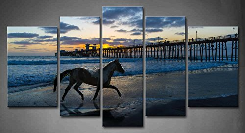 First Wall Art - 5 Panel Wall Art Freedom Stallion Horse Running On A Beach Near A Wooden Pier Sunset Blue Water Painting Pictures Print On Canvas Animal The Picture For Home Modern Decoration piece (Stretched By Wooden Frame,Ready To Hang) (Paintings Of Horses Running On The Beach)