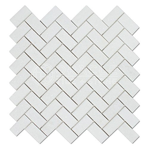 Thassos White Greek Marble 1 X 2 Herringbone Mosaic Tile, Polished -