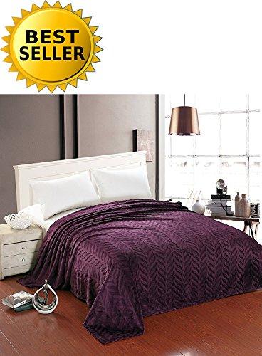 Elegant Comfort All Season Luxury Micro-Fleece Ultra-Plush Warm Leaf Pattern Jacquard Blanket, King/Cal King, Eggplant-Purple (Blanket Plum Fleece)