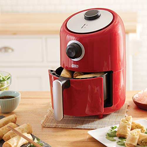 Dash Compact Air Fryer 1.2 L Electric Air Fryer Oven Cooker with Temperature Control, Non Stick Fry Basket, Recipe Guide + Auto Shut off Feature - Red by Dash (Image #2)