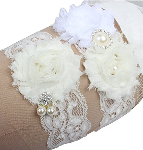 Miranda's Bridal Women's Lace Floral Bridal Garters Wedding Garters with Rhinestone and Pearl Ivory XXXL