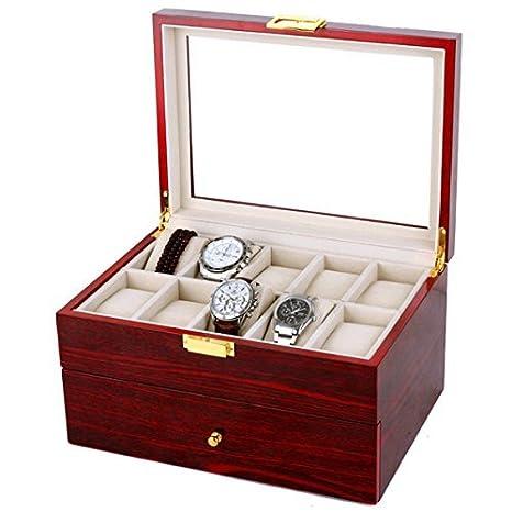 ybaymy 20 rejillas reloj joyería caja de almacenamiento caja de madera rojo: Amazon.es: Hogar