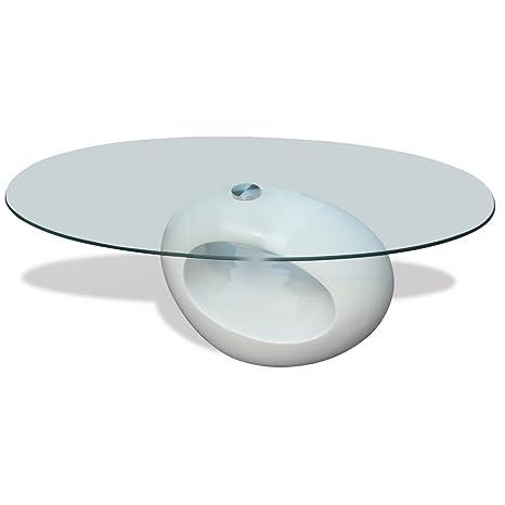 Festnight Tavolino Salotto Moderno Vetro Design bianco Ovale