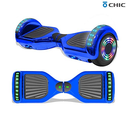 """TPS 6.5"""" Chrome Hoverboard Electric Self Balancing Scooter w/Bluetooth UL2272 Certified LED Lights (Chrome Blue)"""