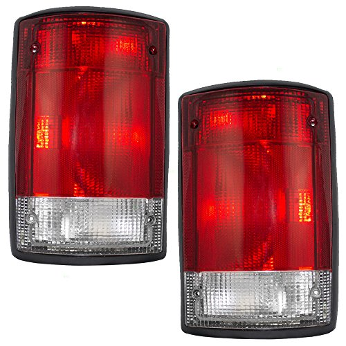 1997 Ford Club Wagon (Driver and Passenger Taillights Tail Lamps Replacement for Ford Van SUV F5UZ13405A F5UZ13404A)