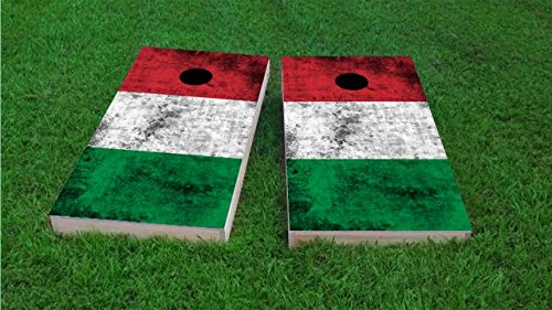 Italy Worn National Flag Cornhole Set, 2x4, 1x4 Frame (25% Lighter), Wood, Hand Painted, All Weather Bags by Floating Pong