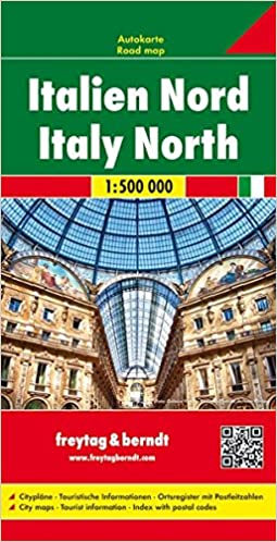 Road Map Of Northern Italy.Italy Northern Map English French Italian And German Edition