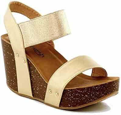 be8e970e0902a WestCoast Womens Ankle Strap Comfort Criss Cross Platform Wedge Sandals