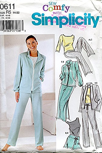 Simplicity Pattern 0611/5867 Misses' Pants or Shorts, Skirt, Jacket and Knit Top, Size R5 (14-16-18-20-22)