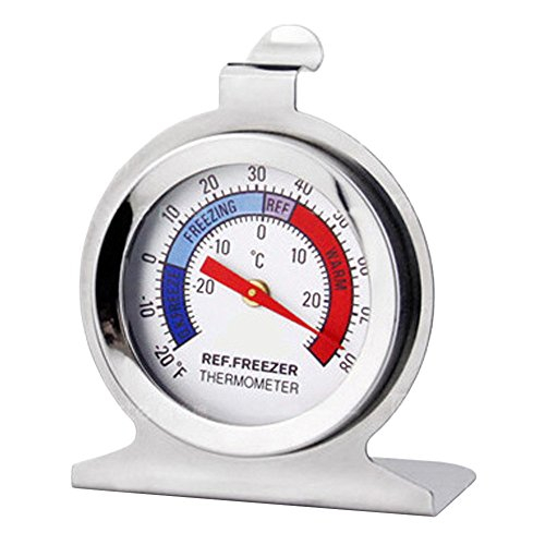 Thermometer for Refrigerator/Freezer Dial HangingThermometer -20°F to 80 °F Temperature Gauge Kitchen (White) ()