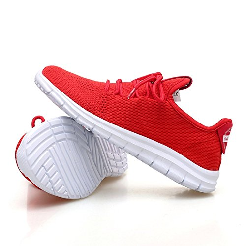 Walking Sneakers Jiayiqi Women Running Light Sport Shoes Mesh Weight Red Athletic BYBzxa