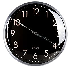 Egundo Silent Large Modern Wall Clock 13 Inches - Battery Operated No Ticking Quartz Movement Metal Decorative for Living Room Kitchen Bedroom (Black)