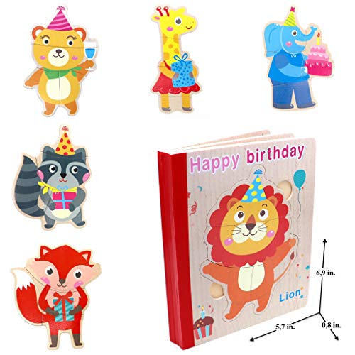 Wooden Books Puzzle - Happy Birthday | Wooden Books - 6 Collapsible Pages of Various Shapes and Colors |Developing of Fine Motor Skills, Memory Toys for Kids|Learning Shape, Color and Sorting ()