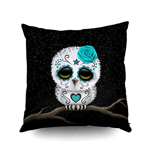 Capsceoll Cute Teal Day Dead Sugar Skull owl Stars Decorative Throw Pillow Case 20X20Inch,Home Decoration Pillowcase Zippered Pillow Covers Cushion Cover with Words for Book Lover Worm Sofa Couch