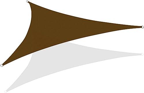 KHOMO GEAR Triangle Sun Shade Sail 12 x 12 x 12 Ft UV Block Fabric – Dark Brown