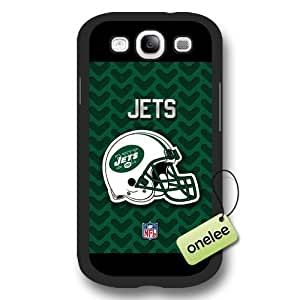 Personalize NFL New York Jets Logo Frosted Black Samsung Galaxy S3(i9300) Case Cover - Black