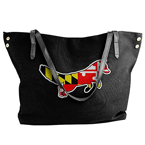 Maryland Canvas Flag Black Fox Handbag Women's Hand Tote Shoulder Large Bag XdCYXwxU