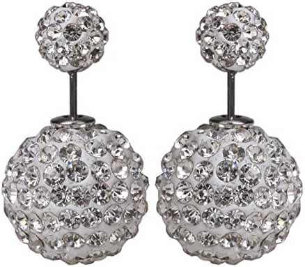 Luxury Women's Double Sided Ear Studs Charming Rhinestones Crystal Earrings White