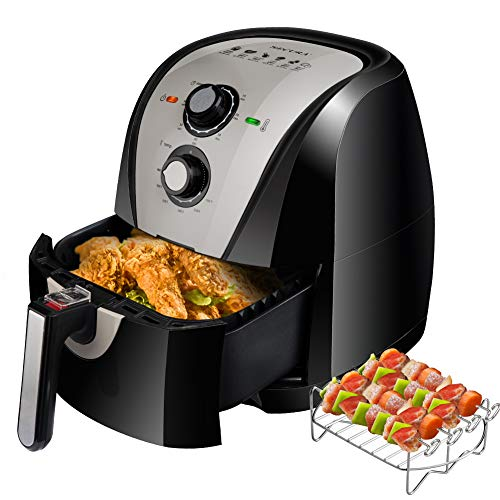 Secura Electric Hot Air Fryer Extra Large Capacity Air Fryer and additional accessories; Recipes and skewers accessory set (5.3Qt Grey)