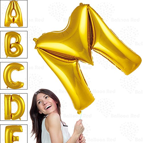 40 Inch Giant Jumbo Helium Foil Mylar Balloons for Party Decorations (Premium Quality), Glossy Gold, Letter M