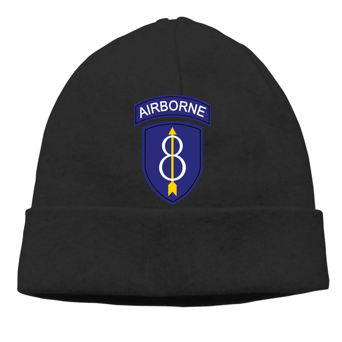 US 8th Airborne Infantry Division Unisex Knitted Hat Daily Knitting Beanies Caps Black