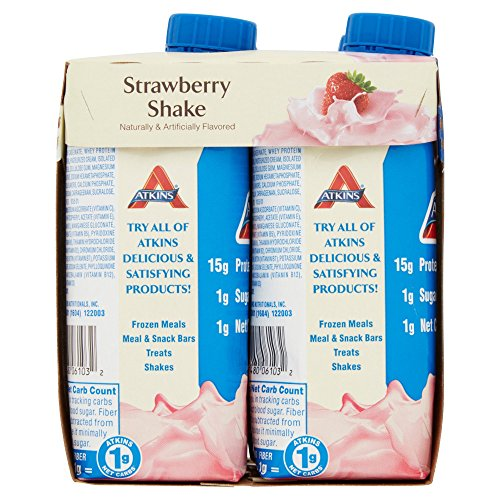 Atkins Ready To Drink Shake, Strawberry, 11 Ounce (Pack of 24)