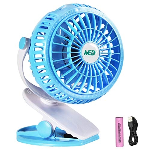 TOMOTO Mini Battery Operated Clip Fan,Sall Portable Fan Powered by Rechargeable Battery or USB Desk Personal Fan for Baby Stroller Car Gym Workout Camping,Green (blue) by MED FAN (Image #7)