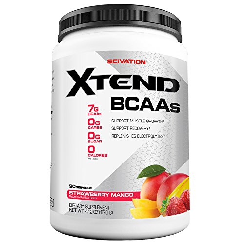 Scivation Xtend BCAA Powder, 7g BCAAs, Branched Chain Amino Acids, Keto Friendly, Strawberry Mango, 90 Servings