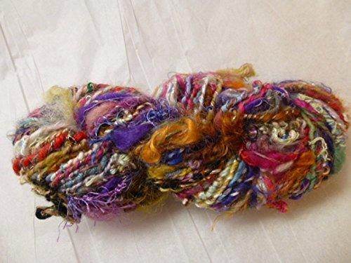 Caribbean Sunset Thick and Quick Hand spun Homespun Art Yarn - Moonlight Mohair Yarn