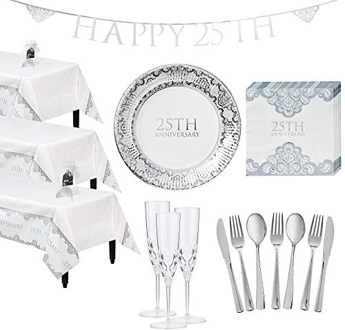 Party City Metallic Silver 25th Anniversary Tableware Supplies for 50 Guests, Include Plates, Napkins, Glasses, and More