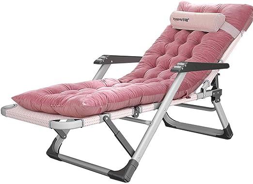 Tumbonas de relajación Sillas reclinables plegables con cojines para niños adultos en el jardín u oficina | Tumbonas reclinables con hamacas para piscina en el patio de la playa, terciopelo rosa: Amazon.es: