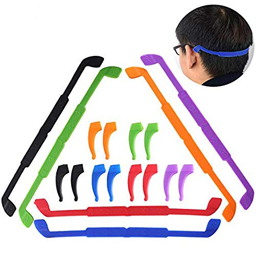 Silicone Glasses Straps INNKER 6 Pack Anti-Slip Sports Glasses Strap with 6 Pairs Ear Grip Hooks Elastic Glasses Strap Eyewear Retainer Eyeglasses Holder Soft Eyeglass Temple Tips for Kids ()