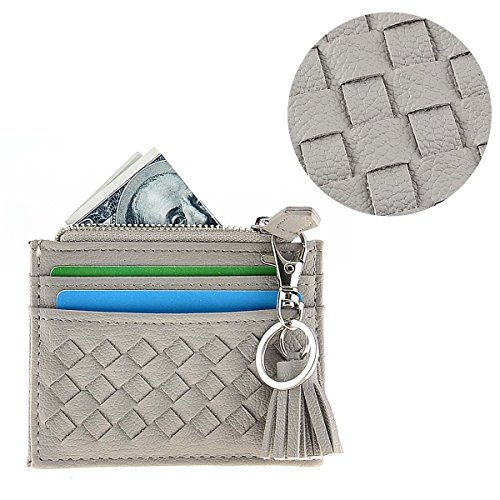 RFID Blocking Genuine Leather Compact Card Wallet Credit Card Case Organizer with Key Ring (Grey) by XeYOU (Image #4)