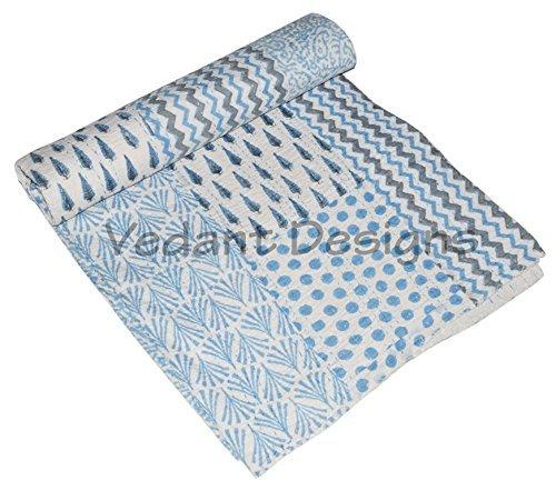 Vedant DesignsパッチWork Kanthaコットンベッドスプレッド90 x 108インチ。 B071XX4SXF