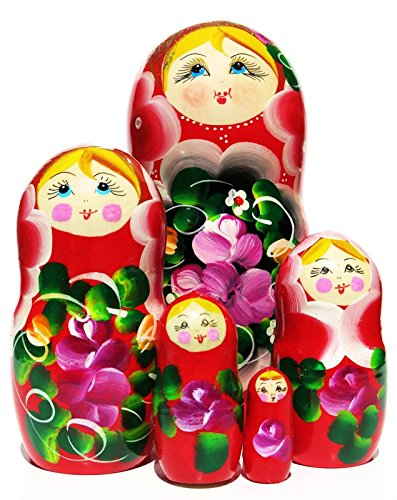 Set Red Amaryllis - Amaryllis Red 5 Piece Russian Babushka Nesting Doll in doll Children Toy Set for Girls
