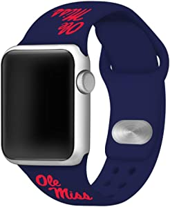 AFFINITY BANDS Mississippi Ole Miss Silicone Sport Watch Band Compatible with Apple Watch (42mm/44mm - Navy Blue)