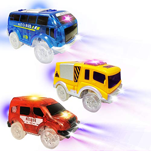 AUKND Tracks Cars Replacement Light Up Toy Car Track Accessories Toys Racing Car with 5 Flashing LED Lights Compatible with Most Tracks for Boys and Girls Best Gifts 3Pack