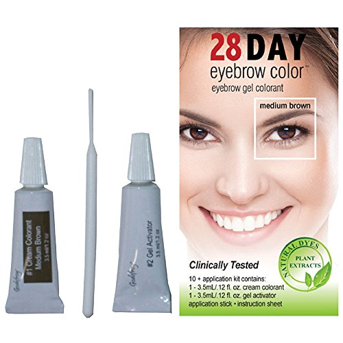 28 Day Eyebrow Color Medium Brown - Gel Colorant Covers Resistant Grays