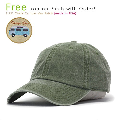 Vintage Year Plain Washed Cotton Twill Baseball Cap with Adjustable Velcro  (Olive Green) 93fcd70d499